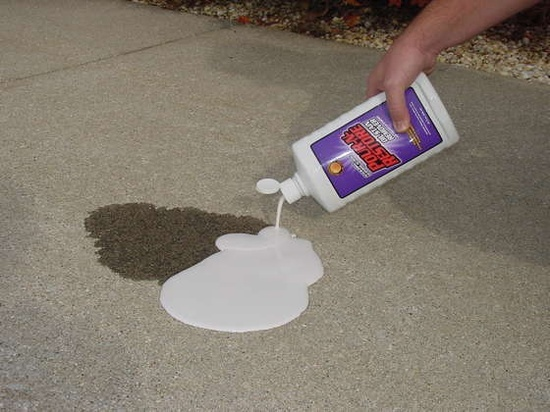 cleaning oil stains on your driveway. Good to know...