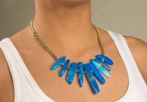 Blue agate daggers statement necklace on a chunky gold plated chain.