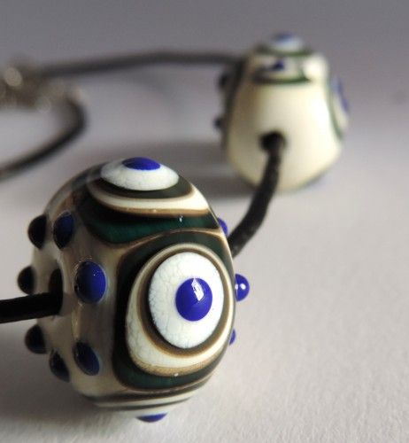 Handmade glass bead, Murano glass, inspired by ancient Roman artefacts, necklace and bracelet