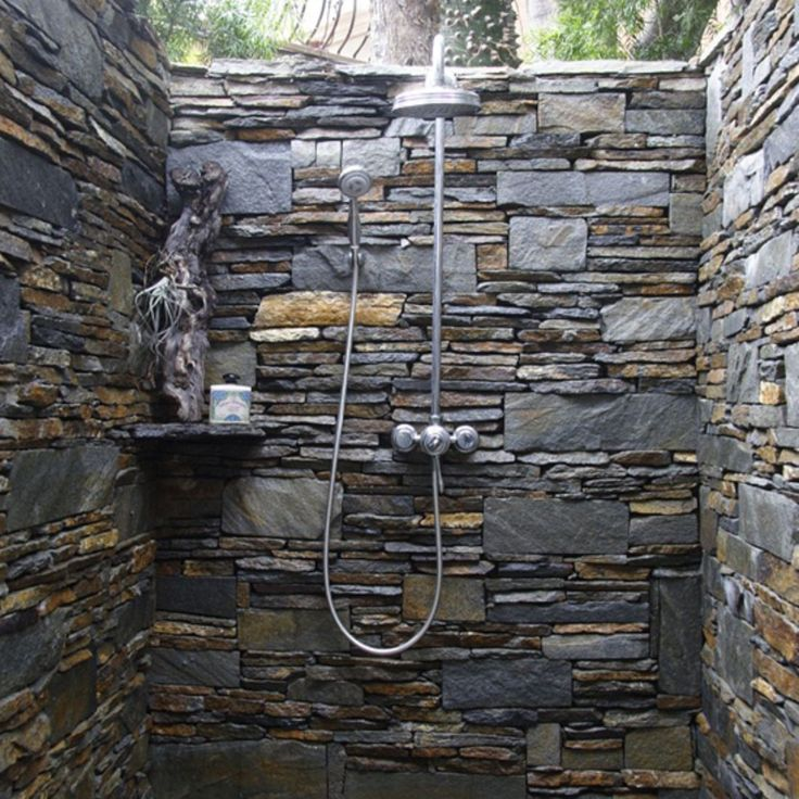 bathroom beautiful outdoor shower with natural decor and luxury touch multicolor natural wall stone