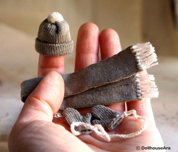 Beanies Set Knit Hat Scarf Mittens Dollhouse
