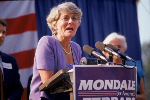 Geraldine Ferraro, first woman on a major-party ticket, with Walter Mondale, as vice presidental nominee in the election of 1984.