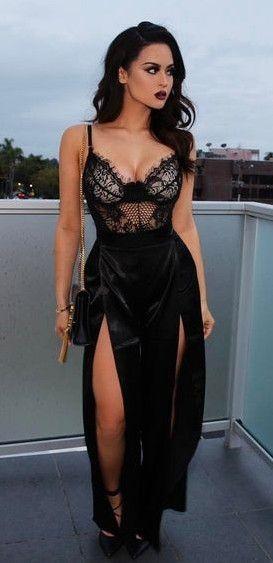 sexy prom dresses,black prom dresses,split prom dresses,lace prom dresses,spaghetti strap prom dresses,cheap prom dresses @simpledress2480
