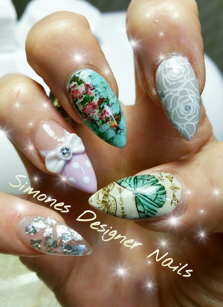 Scrapbook paper nails with polka dots, a bow, and a butterfly by @Simones-designer-nails