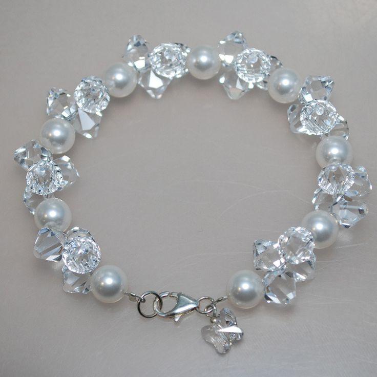 Image of Swarovski Crystal and White Pearl Cluster Bracelet