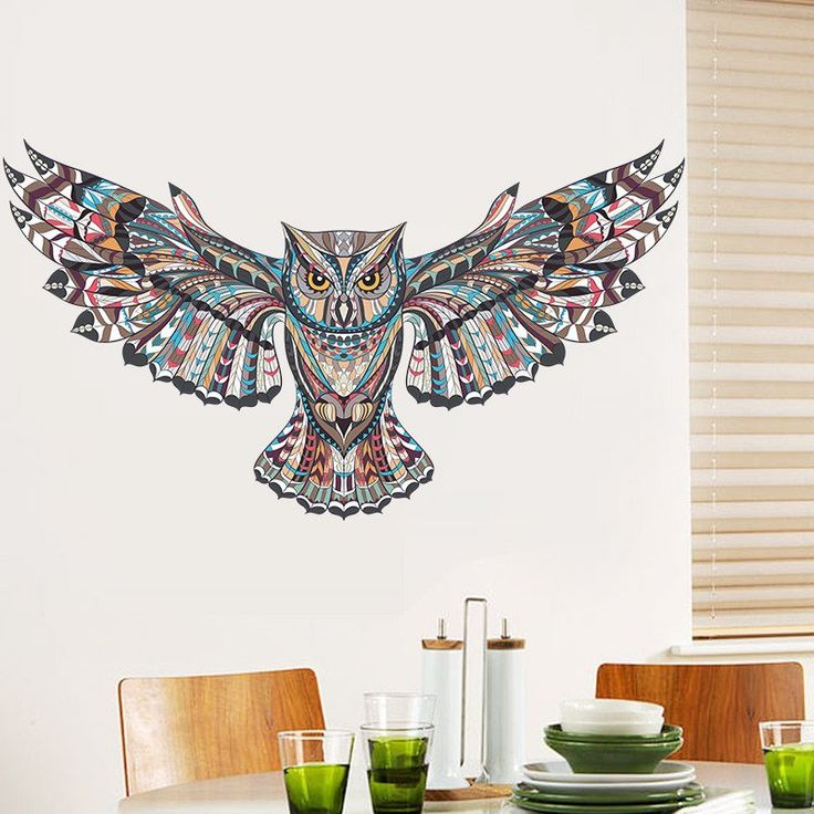 Flying Colorful Owl Removable Wall Decal – GetheBuzz