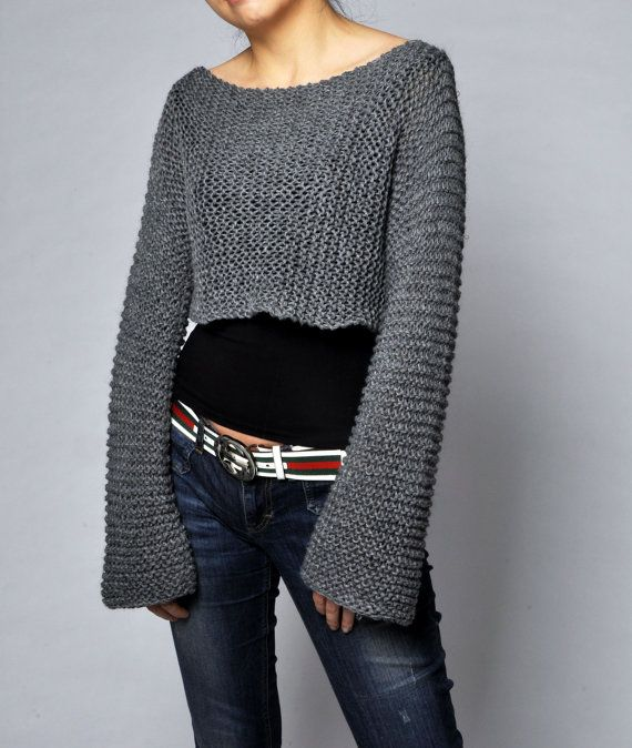 Hand knit sweater - Little cover up top in Charcoal on Etsy, $55.00