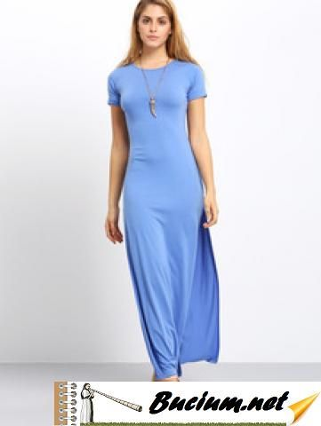 Light Blue Short Sleeve Split Side Dress