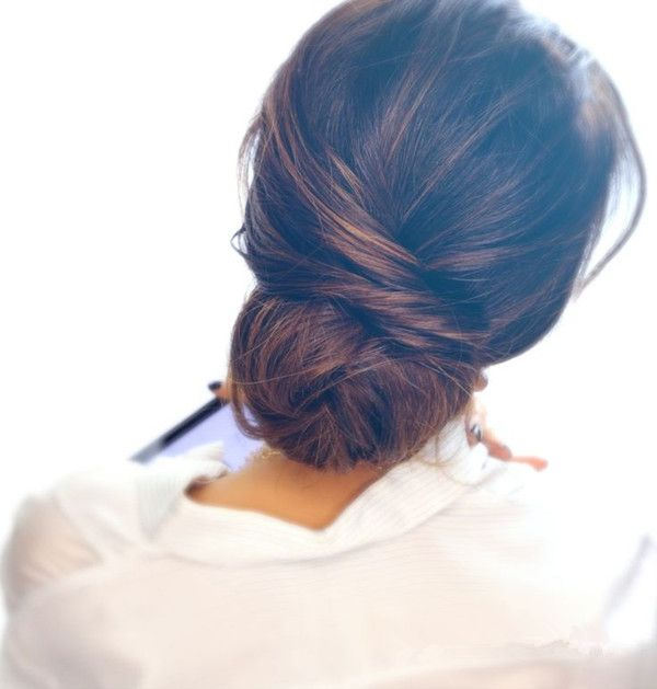 Up-do hairstyle, messy, natural and beautiful~ with dark brown hair color