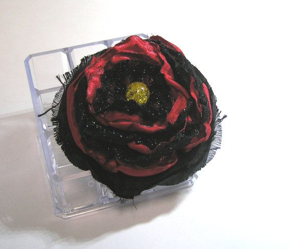 FABRIC ROSE flower  BARRETTE red and black with by rankaswedding