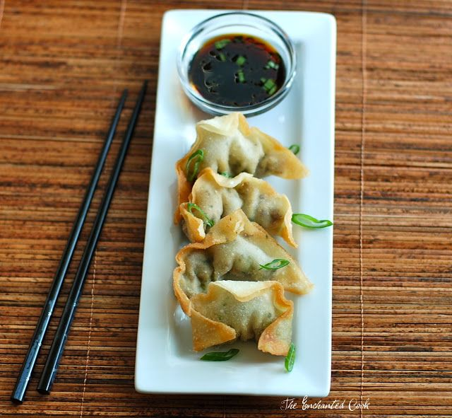 The Enchanted Cook: Yaki Mandu (Korean Fried Won Tons) with Ponzu Dipping Sauce...delicious appetizers...there's a little Korean restaurant around the corner from my school that makes these...oh. my.