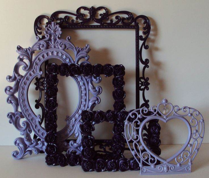 Picture Frames Deep Purple Grape Lavender French Lilac 5 Open Frames Roses Crown Wall Gallery Set. Wedding. Romantic Cottage. Home Decor.. $120.00, via Etsy.