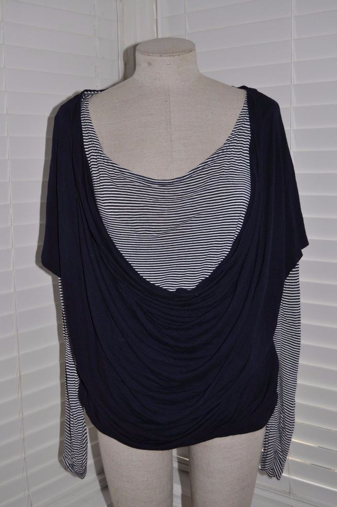 001ebe0f5a7 CHICO'S Women's sz 2 (12/14) Navy/White Striped Draped Cowl Layered Top  Shirt #fashion #clothing #shoes #accessories #womensclothing #tops (ebay  link)