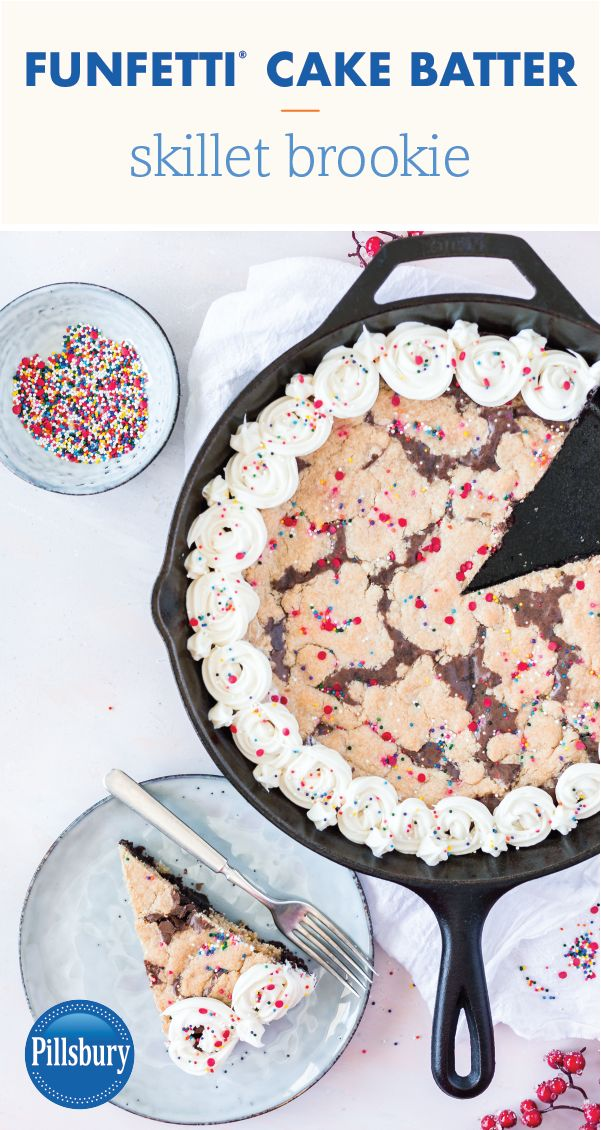What could be a better way to share some love this Valentine's Day than with a sweet treat as tasty as this Valentine's Funfetti® Cake Batter Skillet Brookie?! Made with Pillsbury™ Chocolate Fudge Brownie Mix, Crisco® Vegetable Oil, and topped with Pillsbury™ Filled Pastry Bag Vanilla Flavored Frosting, the recipe is sure to get the whole family in on the holiday baking fun. Pick up all the ingredients you need to make this homemade dessert for that special someone at Target!