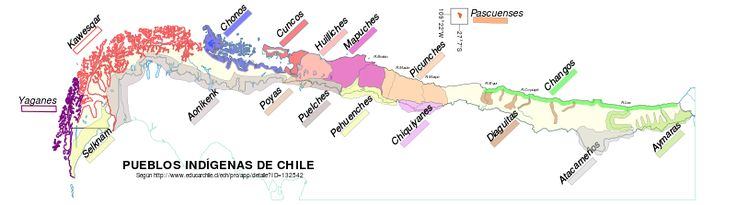 Distribution of the pre-Hispanic people of Chile