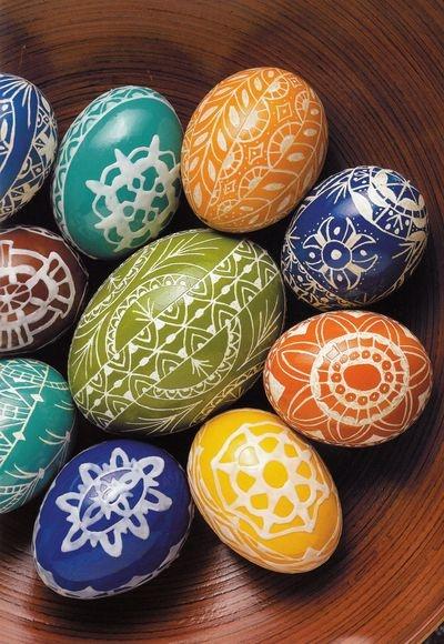 Romanian Easter eggs;  Oua de Pasti cu motive populare
