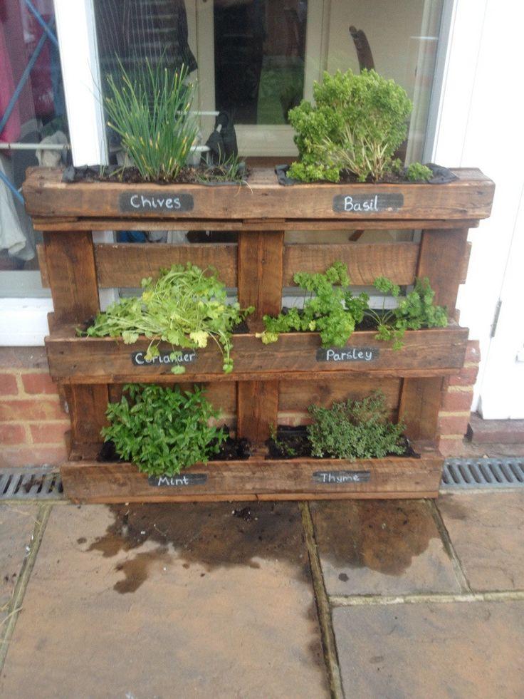 Pallet herb box gardening and other yard junk pinterest for Wood pallet herb garden
