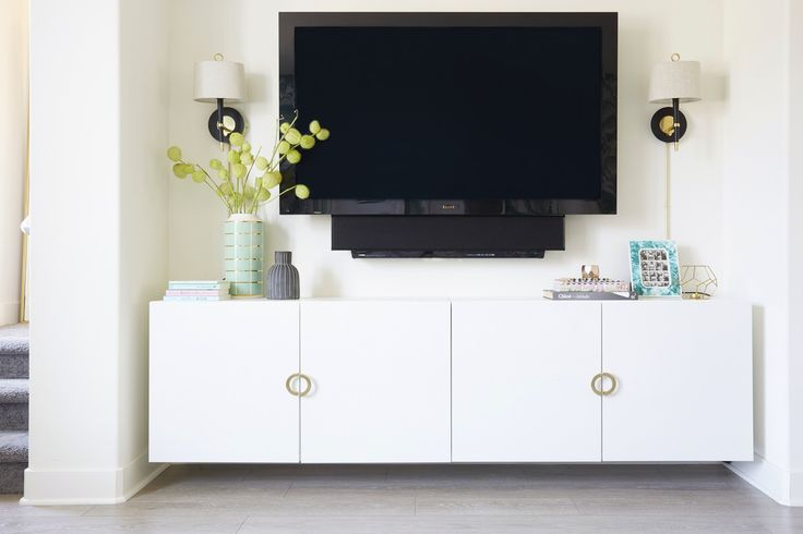 Ikea hack: add vintage pulls to an all white media cabinet!  nicolette mason: {INTERIORS} Our Los Angeles Home Makeover