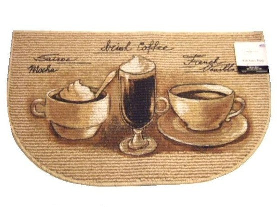 Add Style To Your Coffee Themed Kitchen With This Kitchen Slice Rug That  Features Coffee Cups