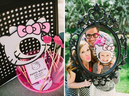 Mini Photo Booth And Themed Props At A Hello Kitty Themed