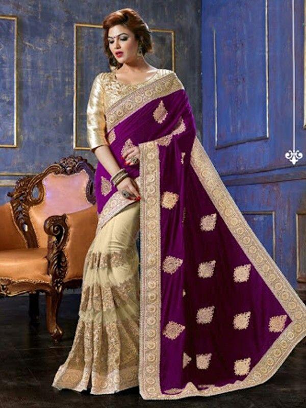 Beautiful hand embroidered net skirt art silk saree with matching gota blouse