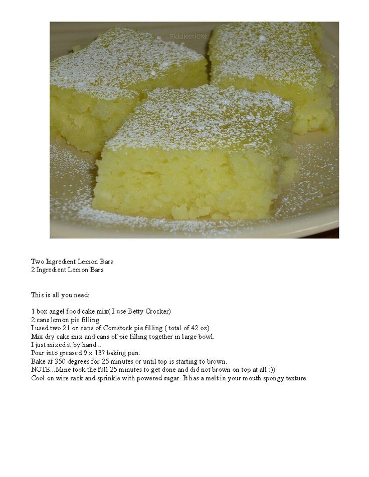 Easy Lemon Bars | Favorite Recipes | Pinterest