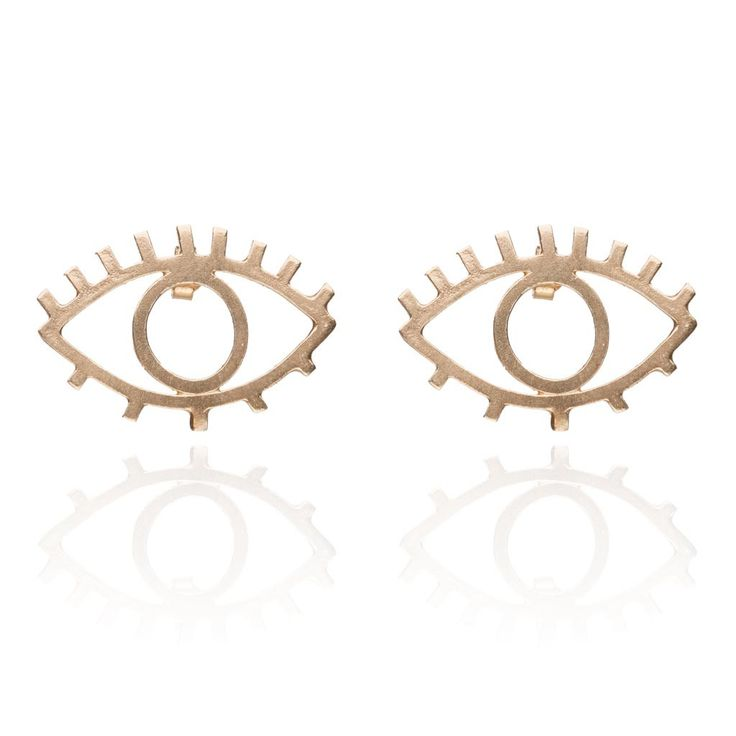 Eye and lash earrings gold