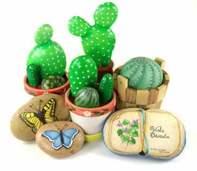 17 best images about painted rocks cactus on pinterest for Crafts made from rocks