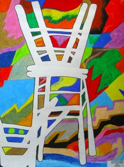 Positive/Negative space - would do this with no countour - just use chairs and charcoal or colourfields in pastel yr 9-10