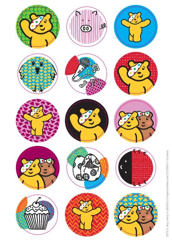 Give the fundraisers and contributors at your school these stickers to wear with Pudsey pride.