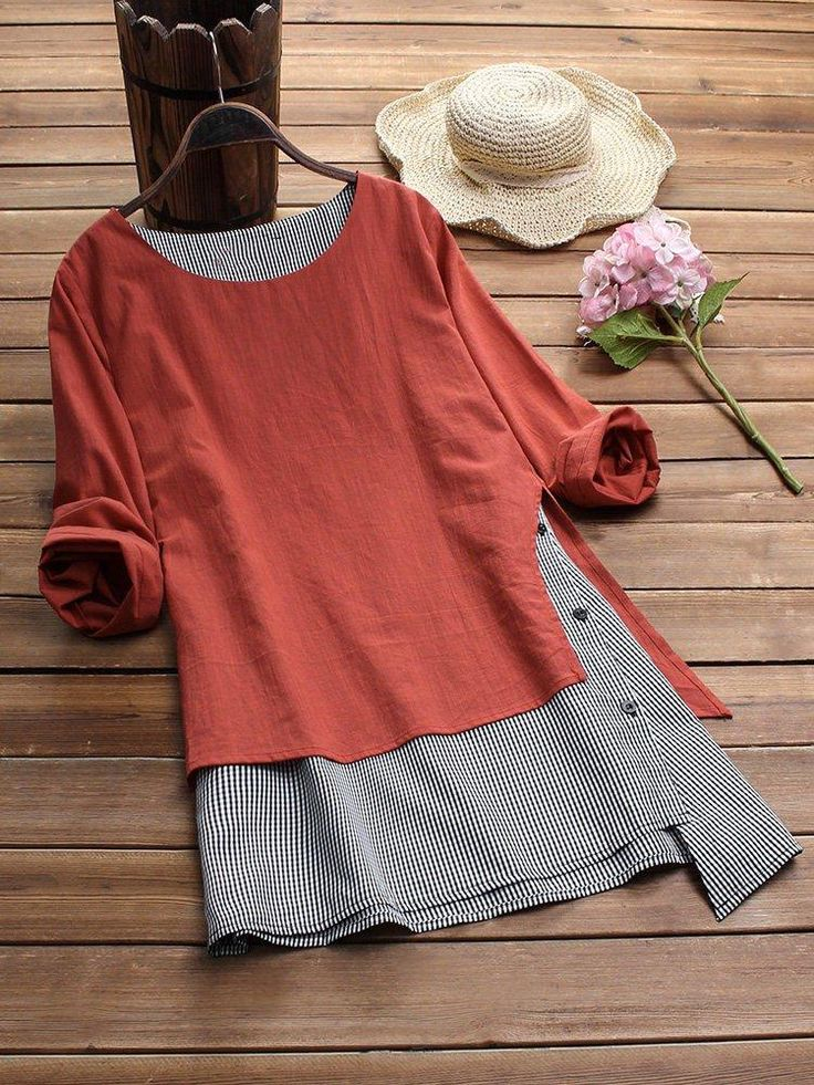 Plaid Asymmetrical Long Sleeve Casual Tunic T-shirt
