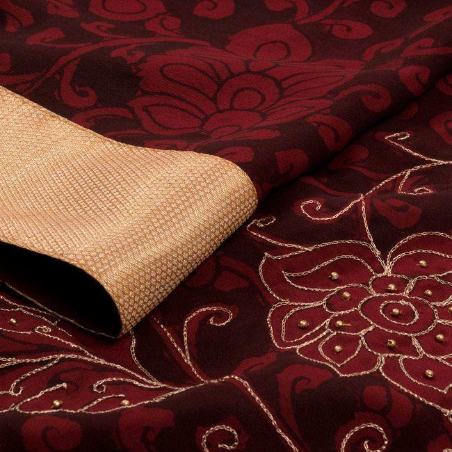 Hand Painted Maroon Pen Kalamkari Crepe Silk Saree Without Blouse & Floral Motifs - AVISHYA.COM