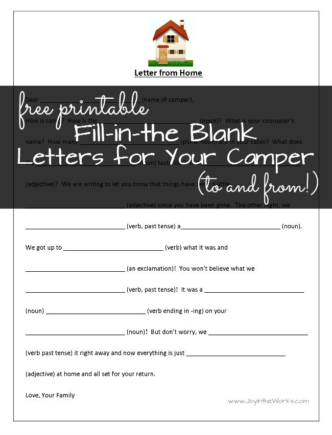 Fill in the Blank Letters to (and From!) Camp | Kids | Camp