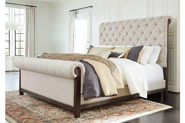 Hillcott Queen Upholstered Bed In 2020 Queen Upholstered Bed Upholstered Beds Upholstered Bed Frame