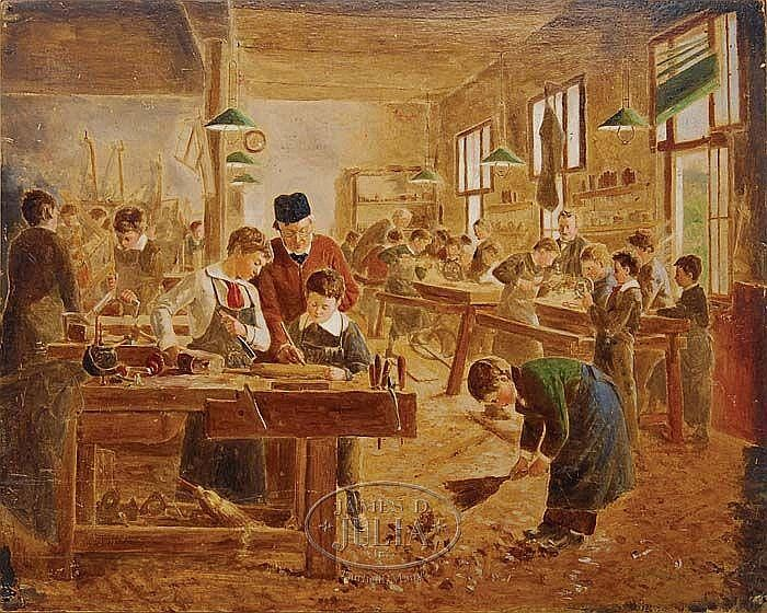 """The shop class"". Auguste Joseph Truphème (1836-1898), French painter."