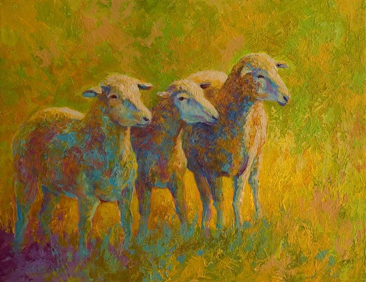 Sheep Trio Painting by Marion Rose - Sheep Trio Fine Art Prints and Posters for Sale