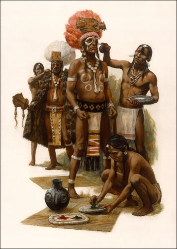 NS: painting by Tom HALL of Mississippian Indian ceremony. Masterful!: tones are complementary, composition weighted centrally, equidistant boundaries, negative space kept and balanced, perspective of mats and ground, detail in texture, perfect respect of muscular proportions, focal face