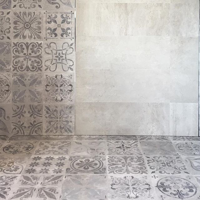 new week | new displays our bestselling Rodano Acero 316x900 concrete look tile with Antique Acero 596x596 patterned feature tile #ceramo #tiles #perthtiles #perthdesign #perthstyle #perthhomes #walltile #floortile #porcelanosa #concrete #concretelooktiles #featuretiles #pattern #moroccan #patternedtiles #interiordesign #interiorinspo #bathroominspo #contemporary