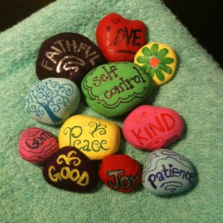 Fruits of the spirit. Rocks, paint, sharpies