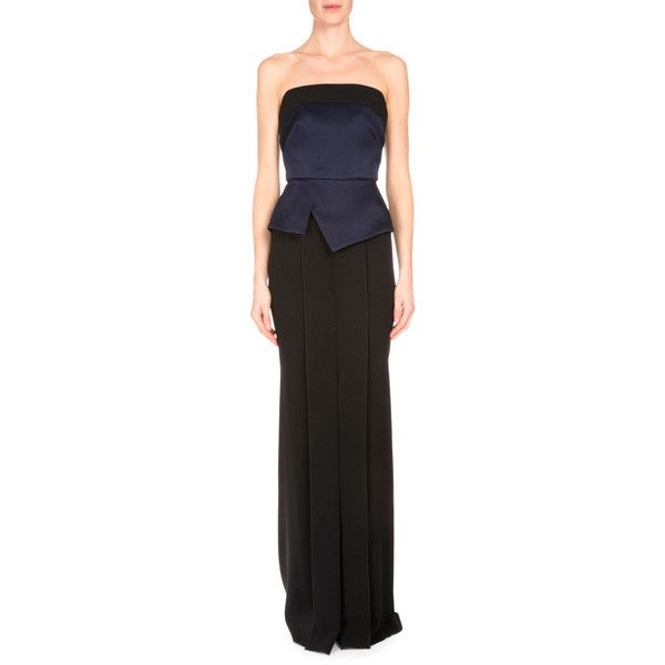 Roland Mouret Devey Bustier Column Gown featuring polyvore, women's fashion, clothing, dresses, gowns, navy black, navy evening gown, pleated dress, navy blue evening gown, navy blue evening dress and navy dress