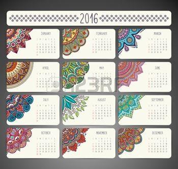 black calendar: Calendario con mandalas. Drenaje de la mano Modelo étnico