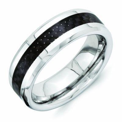 Vitalium Black Carbon Fiber 8mm Beveled Edge Polished Wedding Band