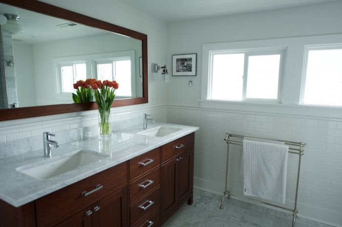 White Subway Chair Rail Marble Counter Light Floors
