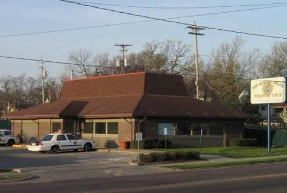 used to be a pizza hut. design, architecture, decline of 90s fast food. (yes, that is a police station)