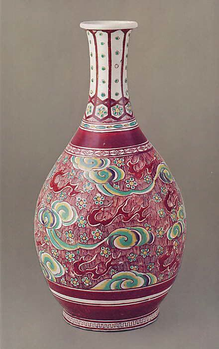 Large Wine Bottle  Period: Edo period (1615–1868) Date: 1660–70 Culture: Japan Medium: Porcelain with overglaze enamels (Hizen ware, Ko Imari type) Dimensions: H. 15 3/8 in. (39 cm) Classification: Ceramic