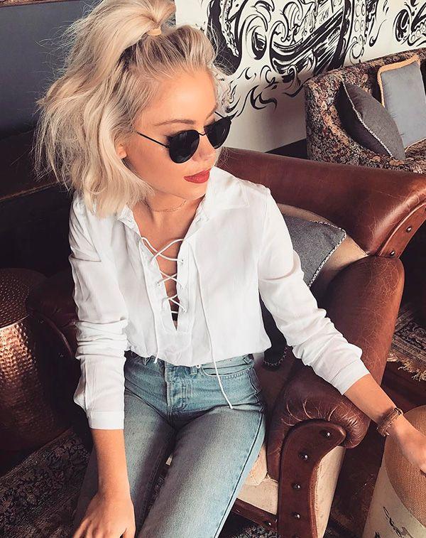 laura stone jeans e camisa