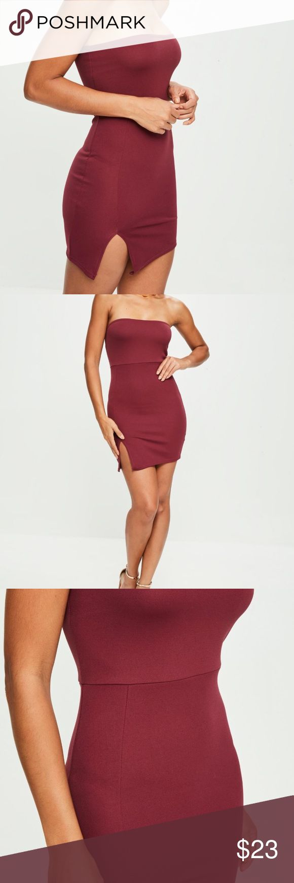 Burgundy Scuba Split Side Mini Dress Perfect homecoming, formal, prom, or party dress! New with tags! If you have any questions feel free to ask:) Missguided Dresses Mini