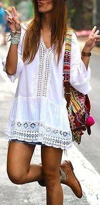 weisses hippie kleid mit spitzen bohemian boho