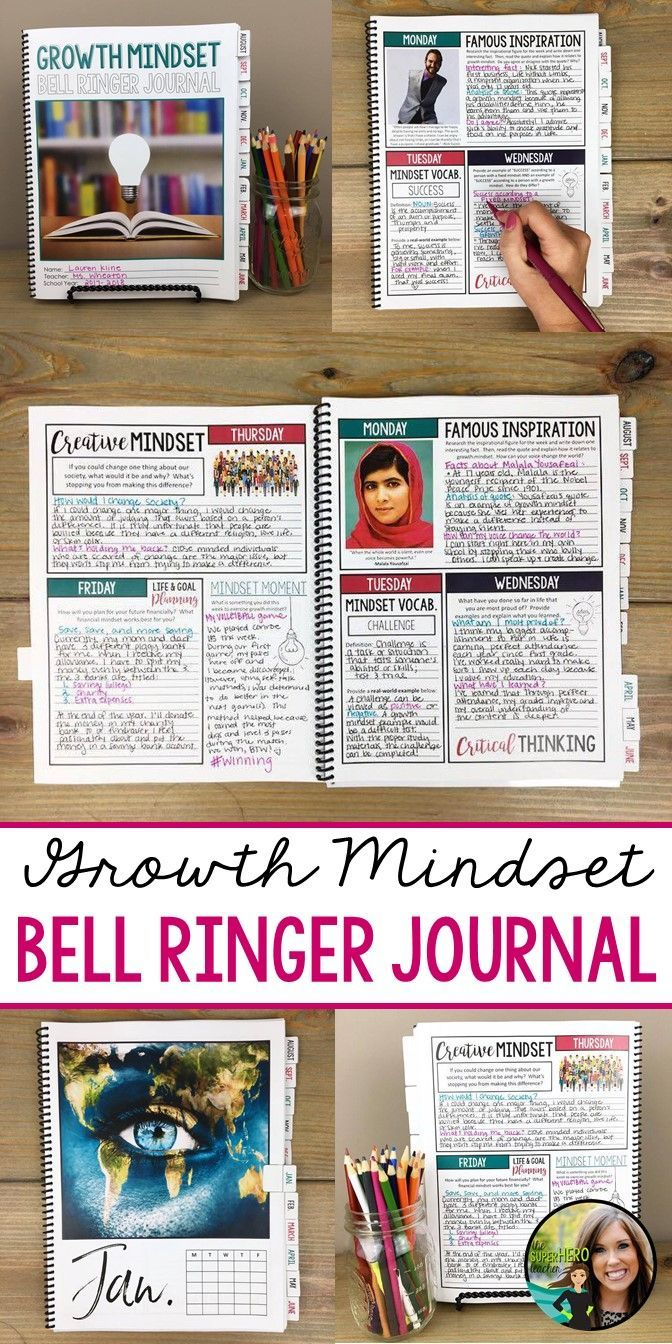 Bell ringer journal for growth mindset | Middle and high school | Any subject area | 275 writing prompts for grades 6-12 | Career readiness | Life and goal planning