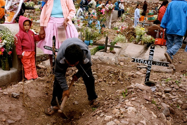 Day of the dead celebrations in a cemetary, Peru